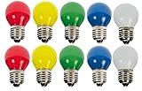 10 x LED Tropfen E27 1W bunt gemischt Deko Lampe