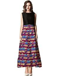 Royal Export Women's Multicolor Crepe & Taffeta Printed Gown
