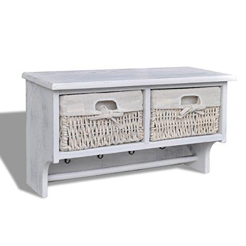 vidaXL Mensola in legno bianco con appendiabiti 2 cesti di