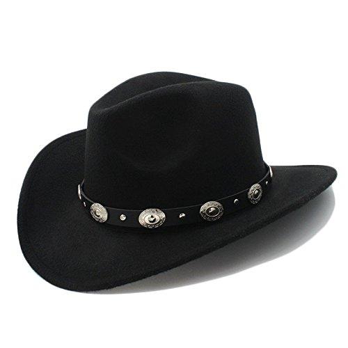 Buen Sombrero Vintage Womem Hombres Western Cowboy Hat con Borde Ancho Punk Belt Cowgirl Jazz Cap con Sombrero de Cuero Toca Cap 23 (Color : 1, Size : 57-58cm)