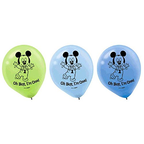 15-Piece Mickey's 1st Birthday Balloons, assorted colors.