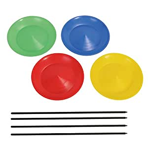 4 Spinning Plates with sticks