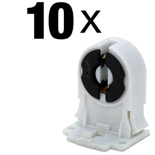 MAILUX SOD14739 T8 / G13 Leuchtstofflampen-Halter Sockel Buchse Fassung   Für AC100-250V LED oder Leuchtstoffröhre   Kunststoff weiss   10 Stück