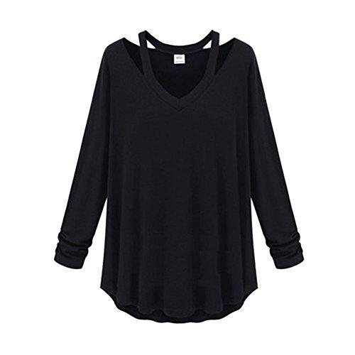 EXIU Femme Coton lâche col V à Manches Longues Chemise Noir