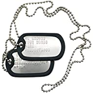 TheDogTagCo Military Dog Tags - Set of 2 Personalised Stainless Steel Nickel Plated Army Style Dog ID Tags with Ball Chains & silencers Read Description to See How to ADD Personalisation