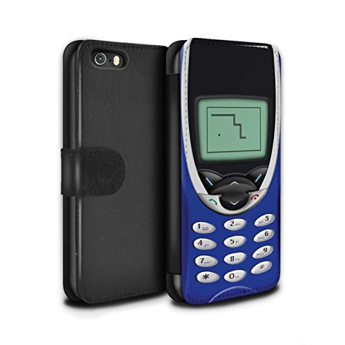 STUFF4 PU-Leder Hülle/Case/Tasche/Cover für Apple iPhone 5/5S / Marine Nokia 8210 Muster / Vintage Handys Kollektion