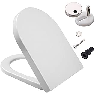 D-Shaped White Toilet Seat with Soft Close & Quick Release Hinges, Polypropylene (PP) Material