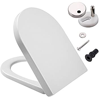 D Shaped White Toilet Seat With Soft Close U0026 Quick Release Hinges,  Polypropylene (PP) Material