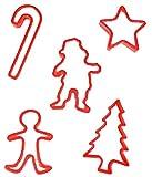 cootillon - 5 Ausstechförmchen Plätzchen Kekse, Weihnachten, Rot
