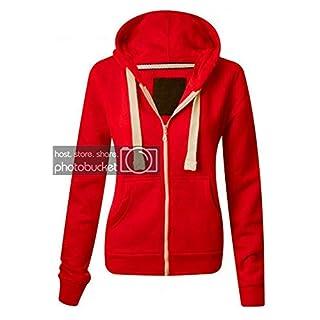 AUK Women Girl Kids New Zip Up Fleece Hoodie Sweatshirt Hooded Coat Jacket Top UK Plus Size Small to 5XL-3-13 Yr Red