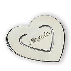 Idea Regalo - Segnalibro a forma di cuore in argento 925/1000 con incisione personalizzata. Tutti i nomi disponibili