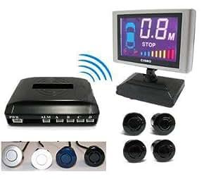 15m 15 Meters Range Wireless Rear Car Reverse Reversing parking Senbsor 4 sensors & LCD dispaly (Black)