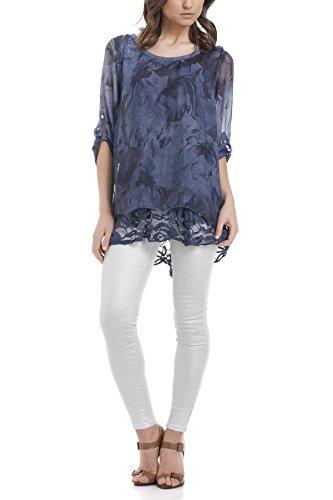 Laura Moretti - Blouse en soie asymétrique avec dos brodé et imprimé floral Marine