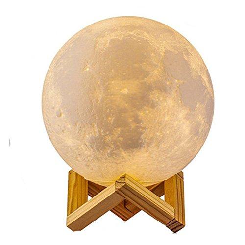 3D Lámpara Mágica de la Luna LED Lámpara de Noche Luna Llena Control Tactil Luces LED Regulables Carga Usb Lámpara De Mesa Regalo de los Niños Lámpara con Base Blanco/Blanco Cálido Iluminación (18cm)