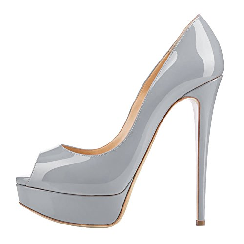 Eks Signore Stiletto Peep Toe Pendent Party Pumps Grigio