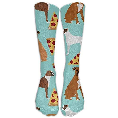 GOGO Boxer Dog PizzaKnee High Graduated Kompressionsstrümpfe für Damen und Herren - Beste medizinische Pflege, Reisen und Flugreisen, Laufen und Fitness, Unisex Jungen Damen, weiß, One Size -