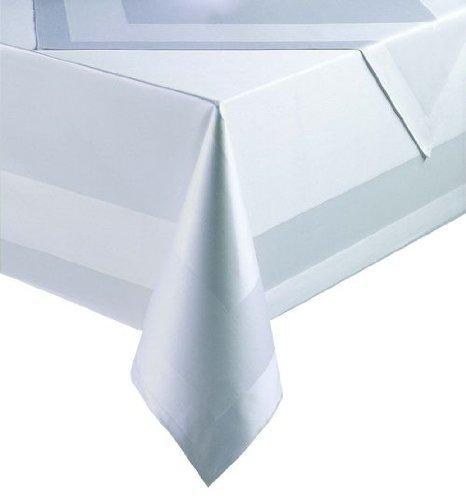Damasco servilleta/mantel/mantel con cinta de satén, color blanco, Weiss, 130 x 280...