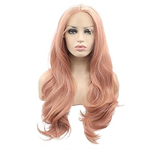 SHKY Hitze resistente Fasern Natural Body Wave Haare voll Perücke für Frauen gemischt Rosa synthetische Spitze Perücke , 26