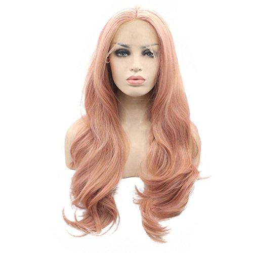 SHKY Hitze resistente Fasern Natural Body Wave Haare voll Perücke für Frauen gemischt Rosa synthetische Spitze Perücke , 26 inches (Abba Kostüme Zu Machen)