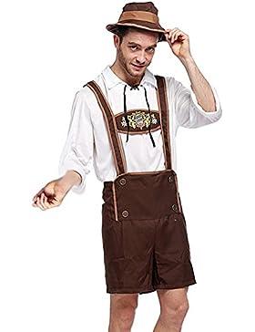 Lukis Herren Trachtenlederhose Oktoberfest Kniebundhose mit Trägern Braun