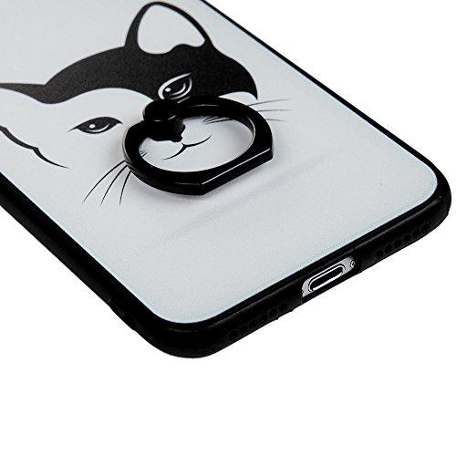 """Mavis's Diary iPhone 7(4.7"""") TPU Intérieur + PC Extérieur Souple Donut Licorne Cartoon Dessin Housse de Protection Étui Téléphone Portable Phone Case Crâne Chat Noir Blanc"""