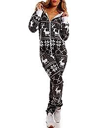 Crazy Age Kuscheliger Jumpsuit Sweat Overall Ganzkörperanzug mit Renntier- Eiskristalle Motive CA-J-603 Relaxen Chillen