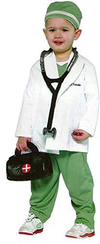 Tante Tina Kinderkostüm Arzt - 4-teiliges Arztkostüm für Kinder inklusive Haube, Arztkittel, Stethoskop und Hose - Weiß / Grün - Größe M ( Herstellergröße 128 ) - geeignet für Kinder von 5-7 Jahren