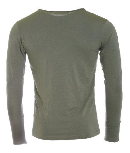 Redbridge Herren Longsleeve T-Shirt langarm Slimfit mit tiefem Rundhals R-1656 Grün