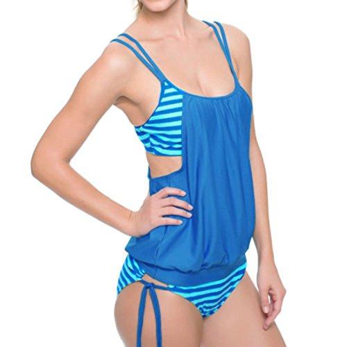 SANFASHION Frauen Niedriger Preis Striped Spleißen Strap Bikini Bademode Baden Sling Badeanzug (M, Himmelblau)