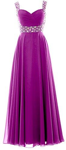 Donne di cristallo MACloth cinghie Chiffon lungo Prom Wedding Party Dress abito da sera Fuchsia