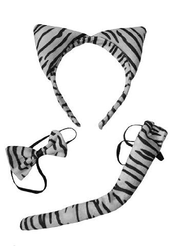 DangerousFXDamen Stirnband, Tierdruck Weiß Weiß