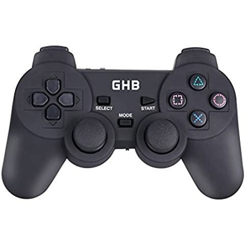 GHB 2.4G Mando Gamepad Inalámbrico Consolas Controller Juego USB 3-en-1 con Doble Vibrazione Plug & Play para Xbox 360 PS1 / PS2 / PS3 por PC con Windows 98 / ME / 2000 / XP / VISTA / 7