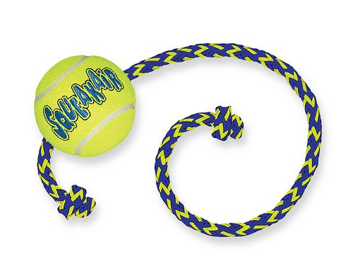Kong Air Squeakair Tennis Ball on Rope Med Interactive Dog Toy