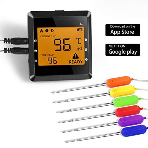 EdBerk74 Smart Wireless BBQ Thermometer 6 Kanäle 6 Sonden Remote Digital BBQ Food Fleischthermometer Echtzeit Status Schwarz -