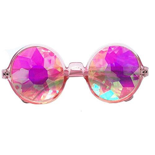AOLVO Kaleidoskop-Brille, EDM, Festival, Prisma, Beugung, Regenbogenfarben, Sonnenbrille, Pink Frame