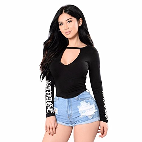 Fuibo Damen Bluse, Frauen V-Ausschnitt Brief Gedruckt Top Langarm-Shirt Solid Casual Bluse [ Oberteile Tops ] (Schwarz, L)