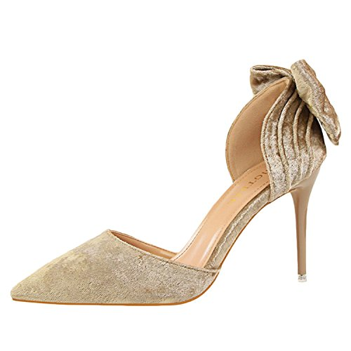 Oasap Women's Pointed Toe Slip-on Bow Suede Pumps Champagne