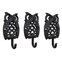 zenggp 3PCS/Iron Owl Hook Wall Decorative Wall Hook Home Garden Vintage Crafts Wrought Iron Coat Hook