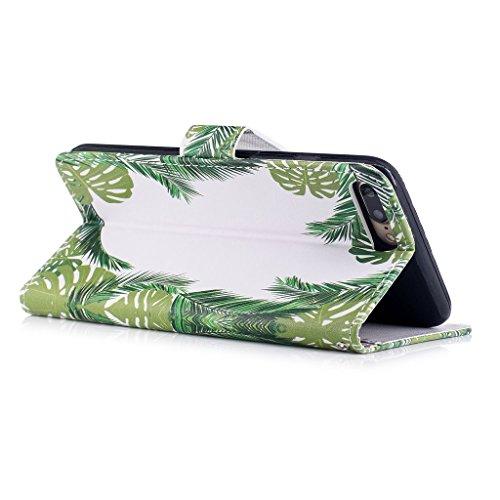 iPhone 7 Plus Hülle,Fodlon® Mode Gemalt Karte Schlitze mit Schlüsselband Telefon Schutzhülle -Weiße Katze Grüne Blätter