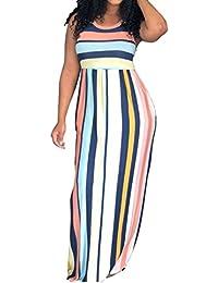 Sommer Damen Lange Kleid Freizeit Rundhals Ärmellos Kleider Strandkleider  Blusenkleider Mode Gestreift Kleider Maxikleider Partykleider Abendkleider 5e924a09f4