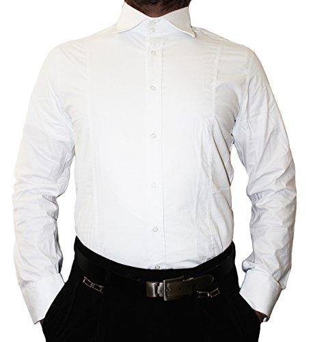 Designer camicia da uomo classico colletto New Kent 2 pottone camicia da uomo Slim Fit aderente a maniche lunghe Bianco