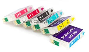 Refillable Cartridge for Epson Printers P50 PX650 PX660 PX700W PX710W PX720W PX730W PX800Fw T0801 T0806 With Ink NON OEM
