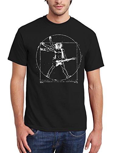 clothinx Herren T-Shirt Vitruvian Rocker Schwarz/Weißer Druck Gr. L Sale Q_K (Da Vinci Guitar Shirt)