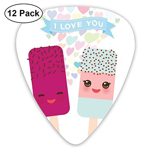 Celluloid Guitar Picks - 12 Pack,Abstract Art Colorful Designs,Abstract I Love You Banner With Colorful Hearts And Two Smiling Popsicle Ice Creams,For Bass Electric & Acoustic Guitars. Ice Cutters