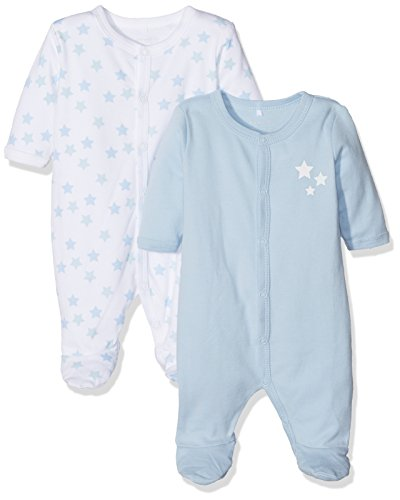NAME IT Baby-Jungen Schlafstrampler Nbmnightsuit 2P W/F Cashmere Noos, 2er Pack, Mehrfarbig (Cashmere Blue), 74