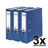 Falken PP-Color Kunststoff-Ordner 8 cm breit DIN A4 blau 3er Pack Ringordner Aktenordner Briefordner Büroordner Plastikordner Schlitzordner