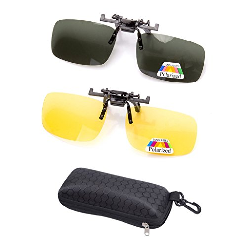 2 Paar Sonnenbrille Clip auf Flip Up Night Vision Gläser Blendschutz polarisierte für Männer Frauen UV400 Beste für Driving Golf Schießen Angeln Jagd Outdoor Sports-Gleb+Grün