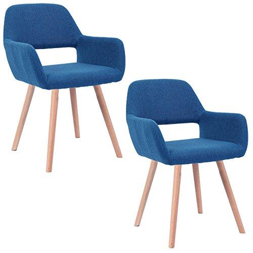 MCTECH® 2x Stuhl Esszimmerstühle Esszimmerstuhl Stuhlgruppe Konferenzstuhl Küchenstuhl Armlehne Büro mit Massivholz Eiche Bein (Type E, Blau) -