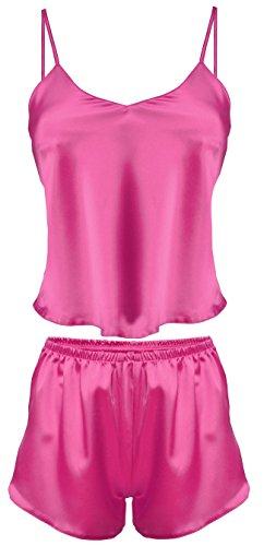Dkaren-Nachtwäsche Damen Wäsche-Set aus Satin KAREN (XS – 2XL) (L, Pink)