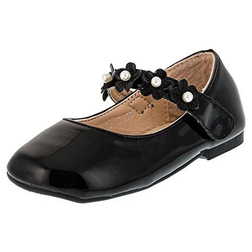 Max Shoes Festliche Kinder Mädchen Ballerinas Schuhe in Lackoptik mit Klettverschluss M269sw Schwarz 29